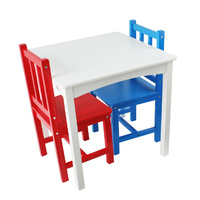 Table and Chairs Red & Blue