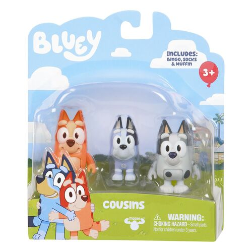 Bingo Socks and Muffins Cousins Figurine 3 Pack