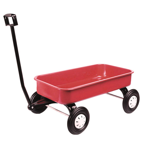 Red Pull Along Metal Wagon