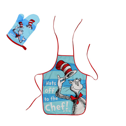 Dr Seuss Cat In the Hat Childs Apron + Oven Mitt