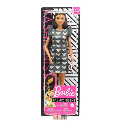 Barbie Fashionistas Doll 140 Long Brunette Hair and Mouse Print Dress