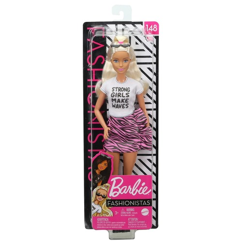 Barbie Fashionistas Doll 148 Long Blonde Hair and Animal Print Skirt