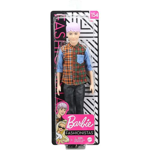 Barbie Fashionistas Ken Doll 154 Purple Hair and Plaid Shirt