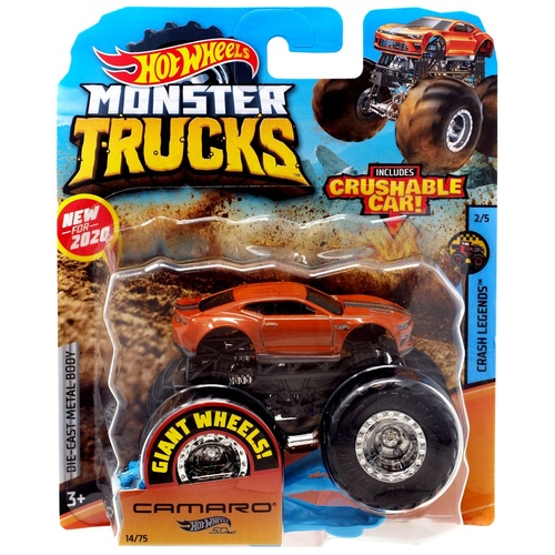 Hot Wheels Monster Trucks Camaro + Crushable Car
