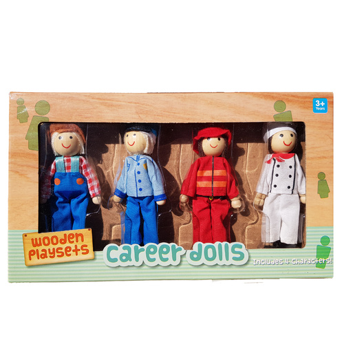 Wooden Career Dolls Bendable